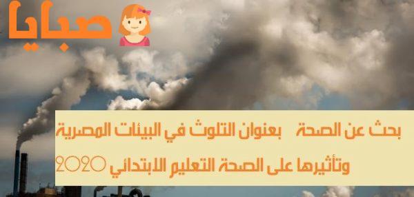 بحث عن الصحة بعنوان التلوث في البيئات المصرية وتأثيرها على الصحة